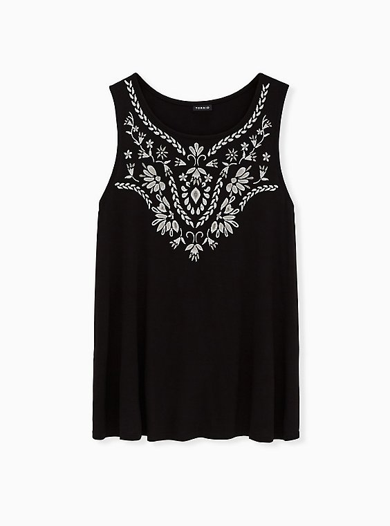 Black Embroidered Slub Jersey Crew Tank, , hi-res