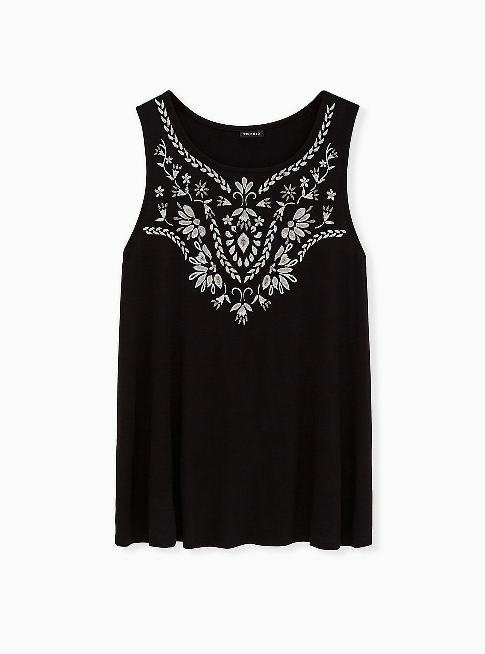 Black Embroidered Slub Jersey Crew Tank, BLACK, hi-res