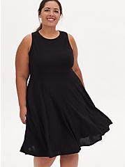 Black Crepe Twist Lace Back Skater Dress, DEEP BLACK, hi-res