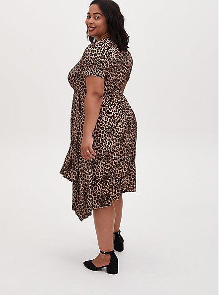 Leopard Print Challis Button Front Sharkbite Midi Dress, ANIMAL - YELLOW, alternate