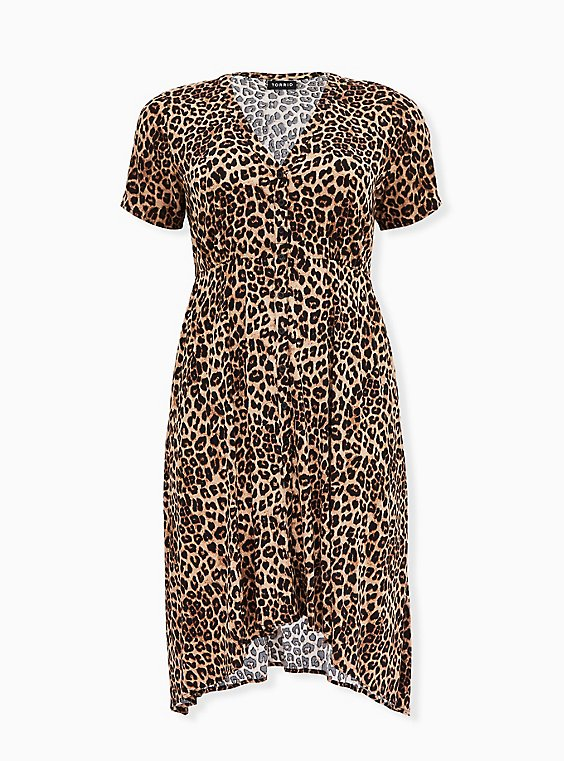 Leopard Print Challis Button Front Sharkbite Midi Dress, , flat