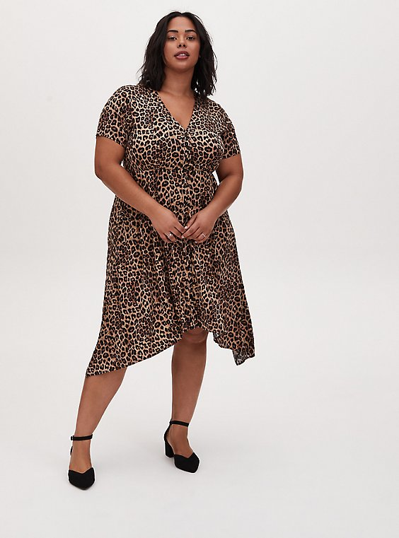Leopard Print Challis Button Front Sharkbite Midi Dress, , hi-res