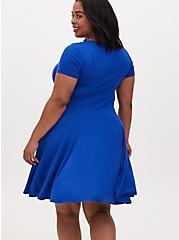 Super Soft Electric Blue Fluted Mini Dress, , alternate