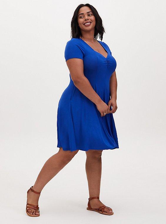 Plus Size Super Soft Electric Blue Fluted Mini Dress, , hi-res