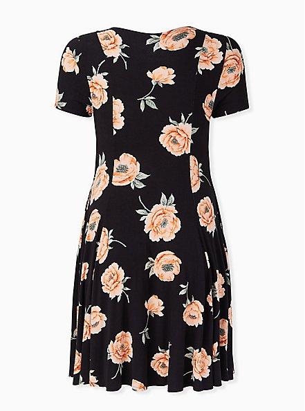 Super Soft Black Floral Fluted Dress, FLORAL - BLACK, alternate