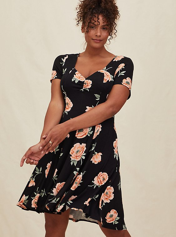 Super Soft Black Floral Fluted Dress, , hi-res