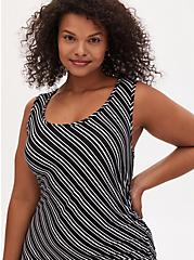 Super Soft Black & White Stripe Asymmetrical Drawstring Midi Dress, STRIPE -BLACK, alternate