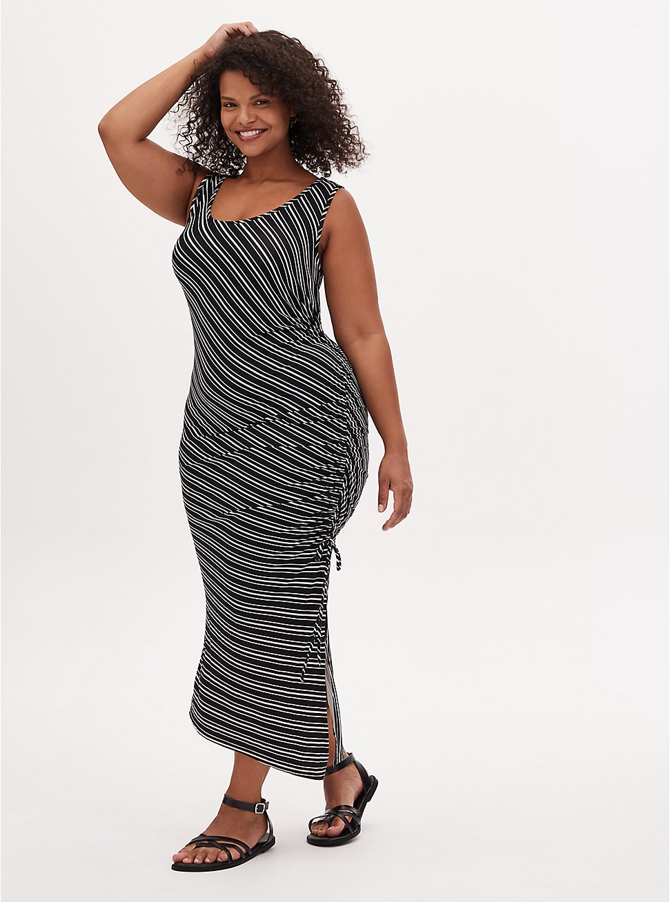 Super Soft Black & White Stripe Asymmetrical Drawstring Midi Dress, STRIPE -BLACK, hi-res