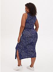 Super Soft Blue Ditsy Dot Asymmetrical Drawstring Midi Dress, DOT - BLUE, alternate