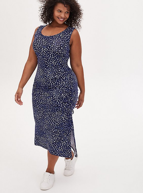 Super Soft Blue Ditsy Dot Asymmetrical Drawstring Midi Dress, , hi-res