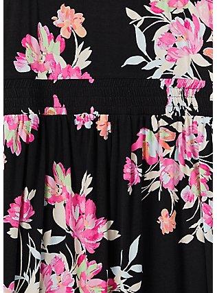 Super Soft Black Floral Romper , FLORAL - BLACK, alternate