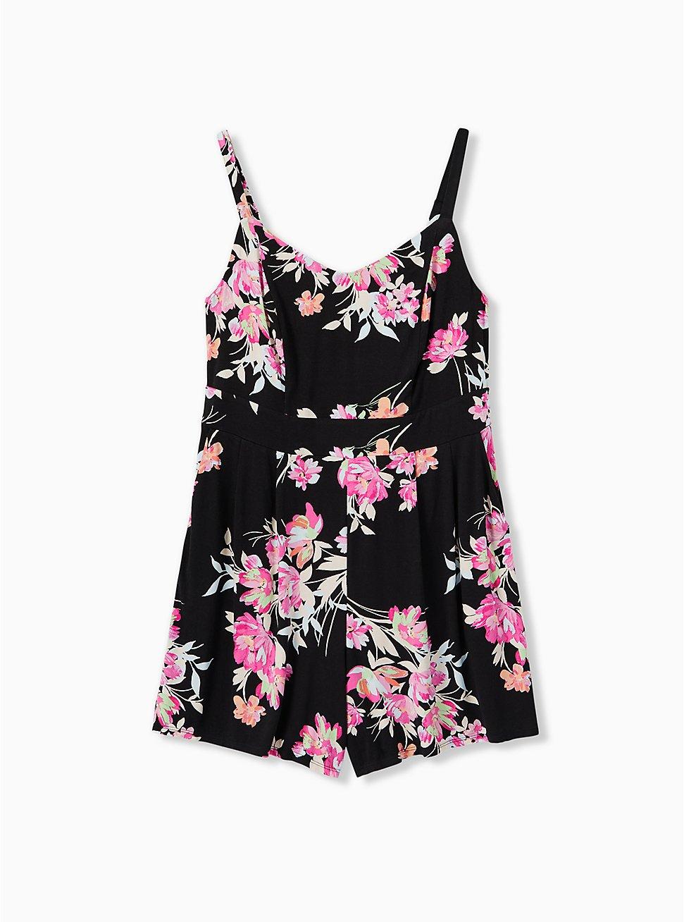 Super Soft Black Floral Romper , FLORAL - BLACK, hi-res