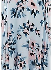 Light Blue Floral Gauze Cold Shoulder Handkerchief Mini Dress, FLORAL - BLUE, alternate