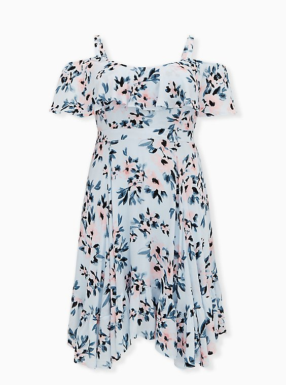 Light Blue Floral Gauze Cold Shoulder Handkerchief Mini Dress, FLORAL - BLUE, hi-res