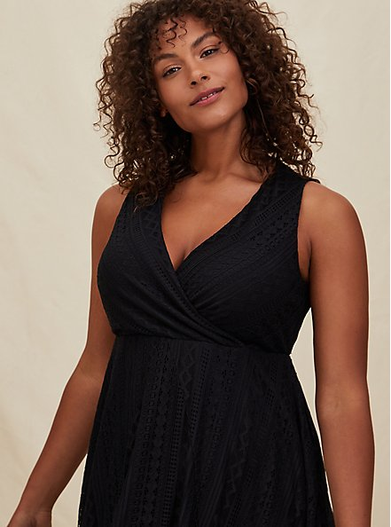 Black Geo Lace Handkerchief Skater Dress, DEEP BLACK, alternate