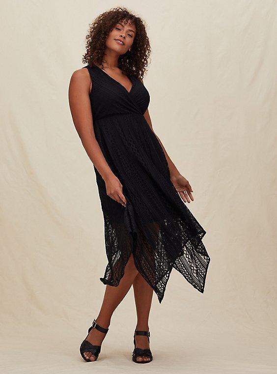 Plus Size Black Geo Lace Handkerchief Skater Dress, , hi-res