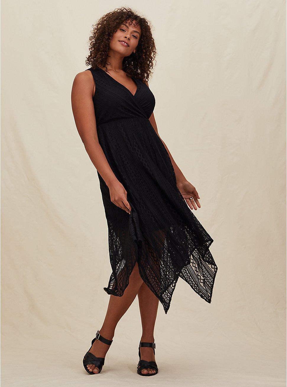 Black Geo Lace Handkerchief Skater Dress, DEEP BLACK, hi-res