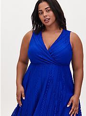 Electric Blue Geo Lace Handkerchief Midi Dress, ELECTRIC BLUE, alternate