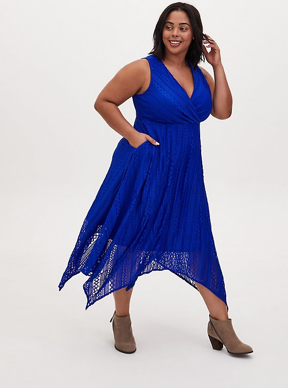 Electric Blue Geo Lace Handkerchief Midi Dress, , hi-res