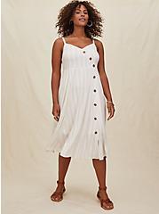 Taupe Stripe Challis Asymmetrical Button Midi Dress, STRIPE-WHITE, hi-res