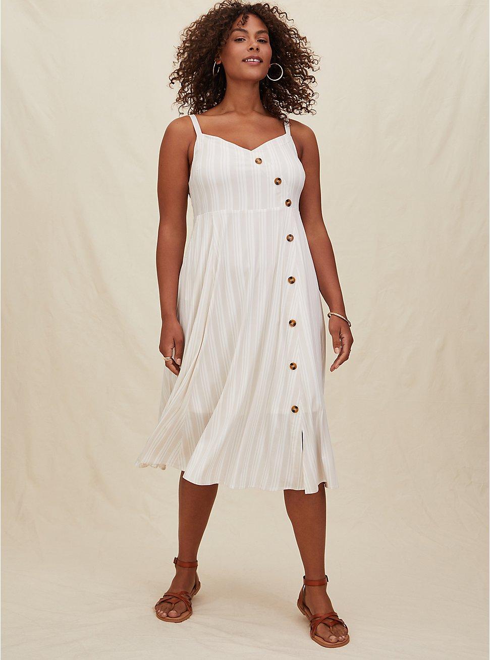 Plus Size Taupe Stripe Challis Asymmetrical Button Midi Dress, STRIPE-WHITE, hi-res