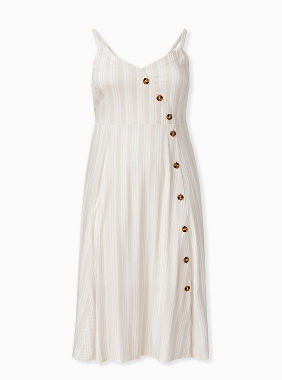 Taupe Stripe Challis Asymmetrical Button Midi Dress, STRIPE-WHITE, ls