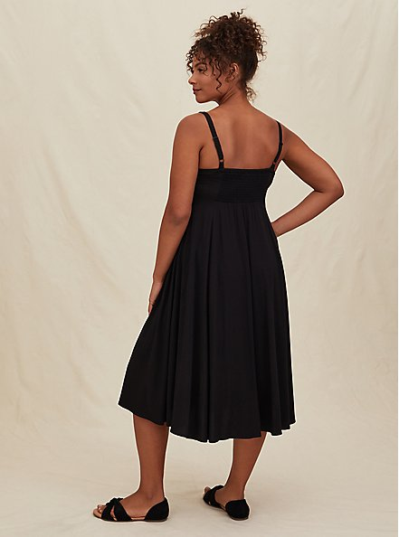 Black Challis Asymmetrical Button Front Midi Dress, DEEP BLACK, alternate