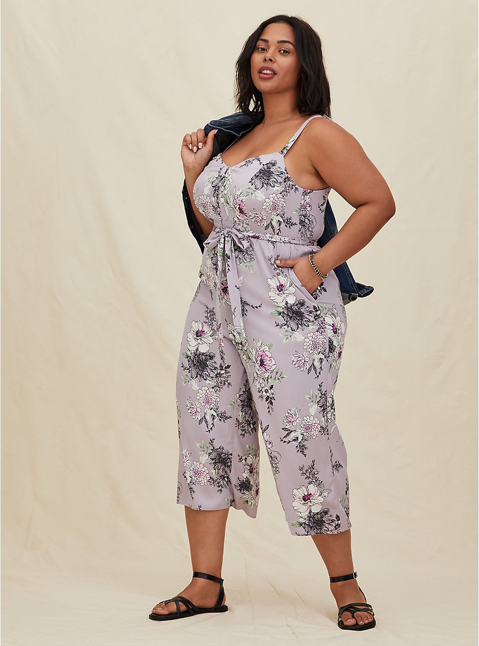 Lilac Purple Floral Challis Self Tie Culotte Jumpsuit, FLORAL - GREY, hi-res
