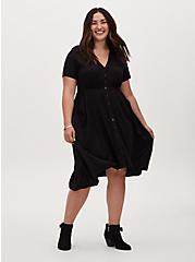 Plus Size Black Challis Button Front Sharkbite Midi Dress , DEEP BLACK, hi-res