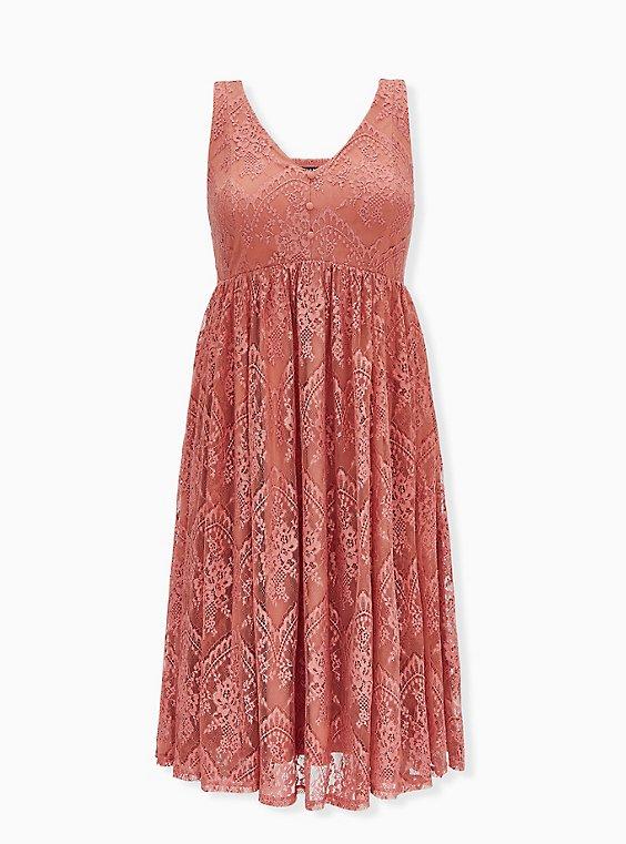 Dusty Coral Lace Button Midi Dress, , flat