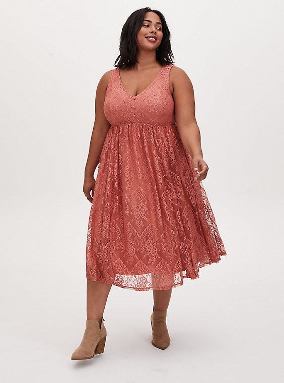Dusty Coral Lace Button Midi Dress, DESERT SAND, hi-res