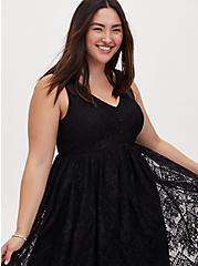 Black Lace Button Midi Dress, DEEP BLACK, alternate