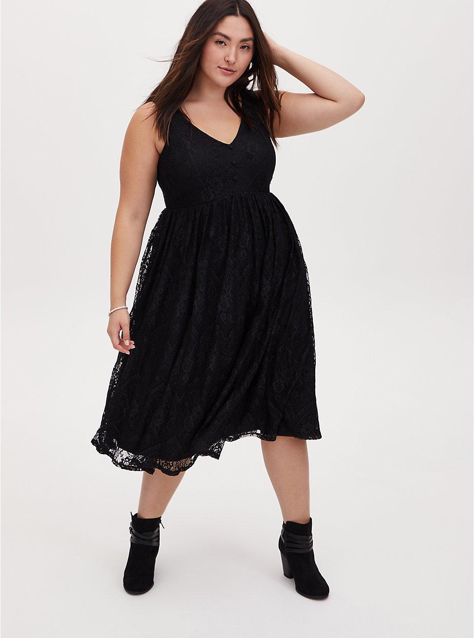 Black Lace Button Midi Dress, DEEP BLACK, hi-res