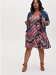 Purple Tie-Dye Jersey Mini Trapeze Dress, TIE DYE, alternate