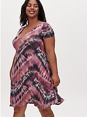Purple Tie-Dye Jersey Mini Trapeze Dress, TIE DYE, hi-res
