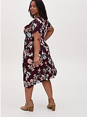 Burgundy Purple Floral Challis Button Front Sharkbite Midi Dress, FLORAL - RED, alternate