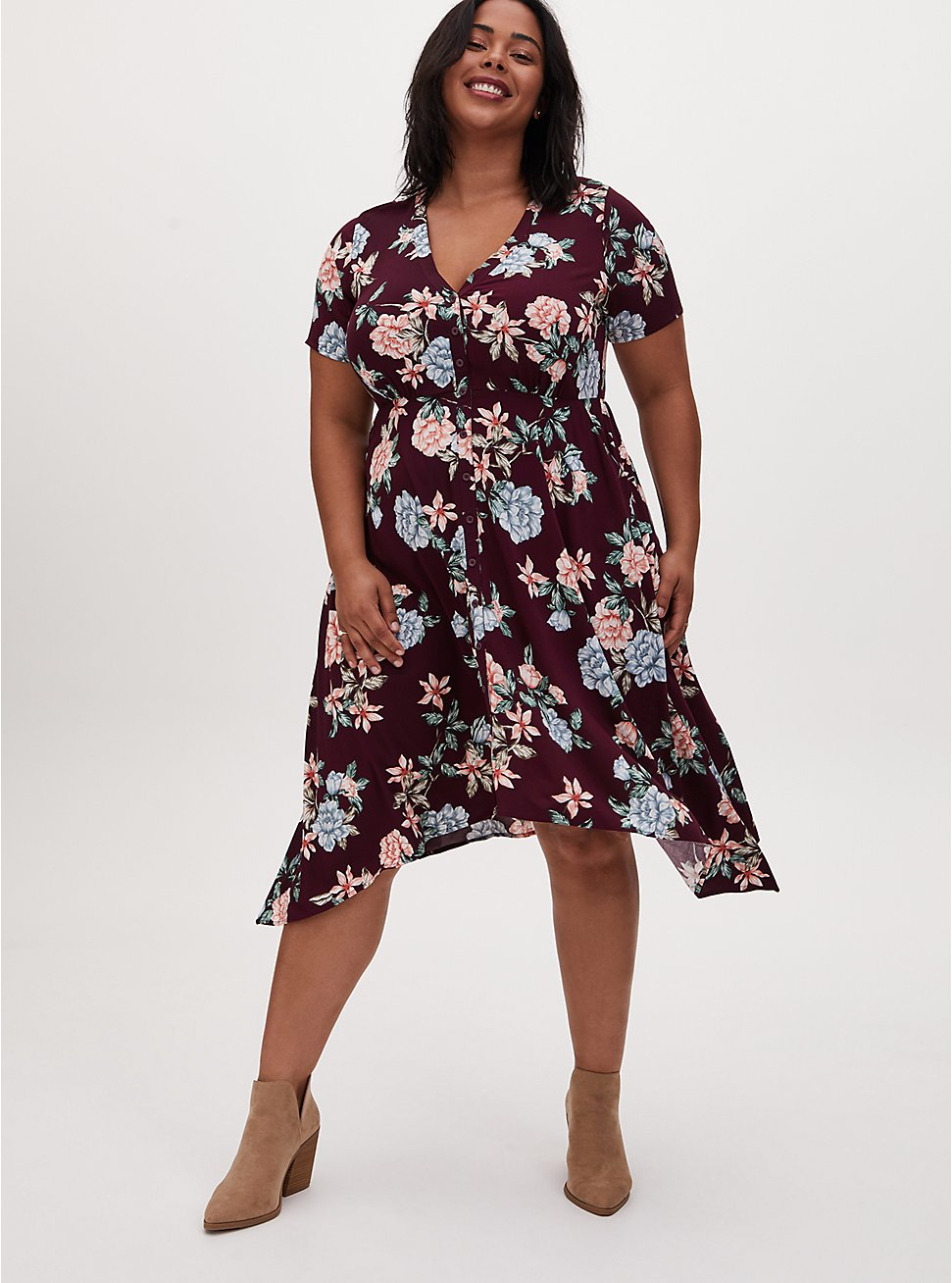 Burgundy Purple Floral Challis Button Front Sharkbite Midi Dress, FLORAL - RED, hi-res