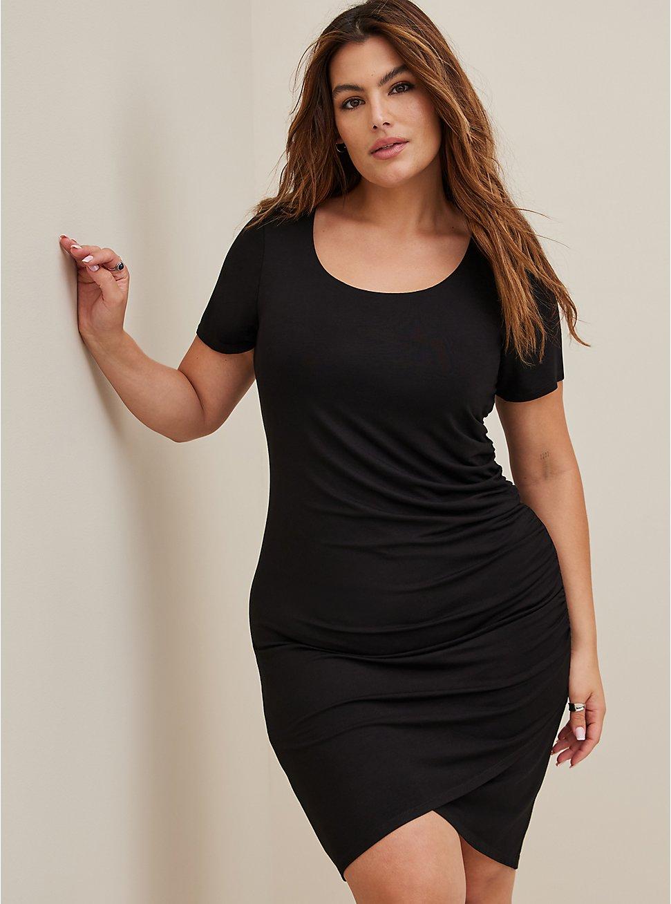 Super Soft Black Hi-Lo Mini T-Shirt Dress, DEEP BLACK, hi-res