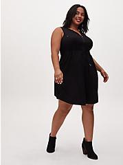 Black Challis Sleevless Zip Front Drawstring Shirt Dress, DEEP BLACK, alternate