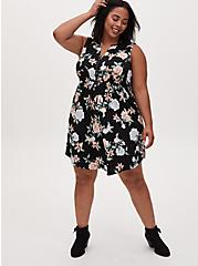 Black Floral Challis Zip Front Drawstring Shirt Dress, FLORAL - BLACK, hi-res
