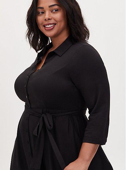 Black Floral Challis Midi Shirt Dress, FLORAL - BLACK, alternate