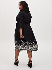 Black Floral Challis Midi Shirt Dress, FLORAL - BLACK, alternate