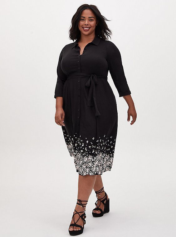 Black Floral Challis Midi Shirt Dress, , hi-res