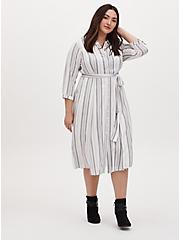 Grey & Ivory Stripe Challis Self Tie Midi Shirt Dress, STRIPE - WHITE, alternate