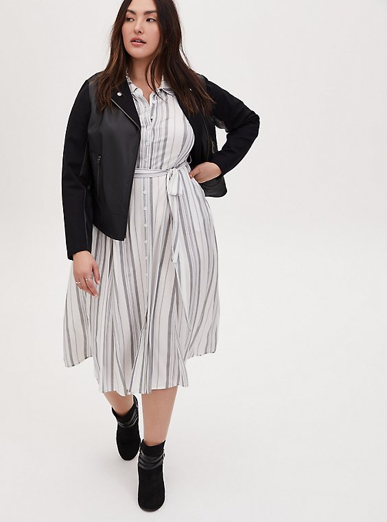 Grey & Ivory Stripe Challis Self Tie Midi Shirt Dress, STRIPE - WHITE, hi-res