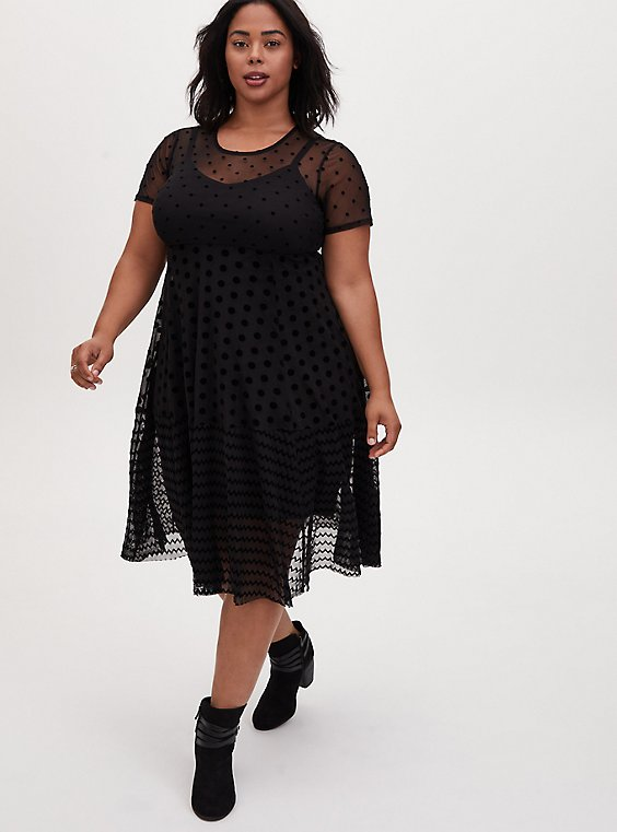 Black Flocked Mesh Shirred Hem Midi Dress, DEEP BLACK, hi-res