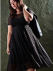 Black Flocked Mesh Shirred Hem Midi Dress, DEEP BLACK, hi-res