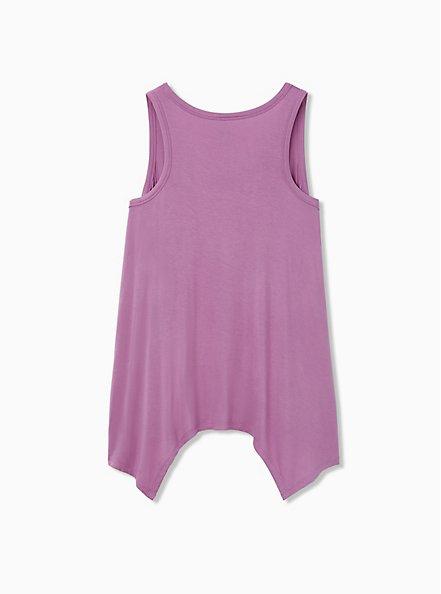 Lavender Purple Dino Jersey Handkerchief Sleep Tank, PURPLE  WHITE, alternate