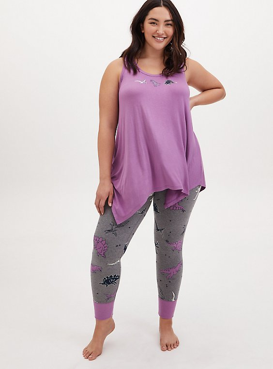 Plus Size Lavender Purple & Grey Dinosaur Drawstring Sleep Pant, , hi-res