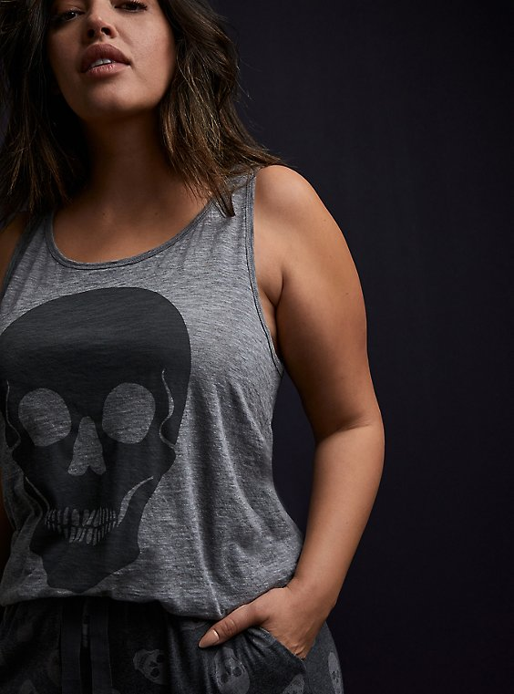 Skull Slub Jersey Sleep Tank - Heather Grey, , hi-res